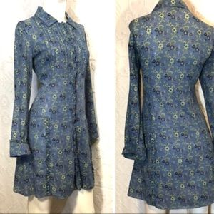 Free People Long Sleeve Button Front Floral Dress